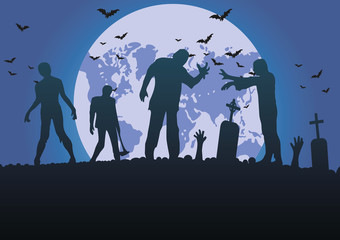 vector silhouette of a crowd of zombies in a cemetery, tombstones in a cemetery under  moon Fotomurales