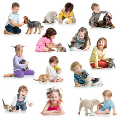 set of children with pets dogs, cats, rat