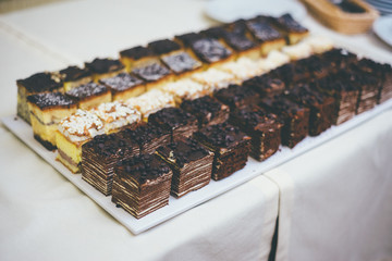 Plate with mini cake desserts