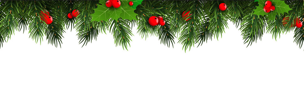 Horizontal Christmas border frame with fir branches, pine cones, berries. Vector illustration.