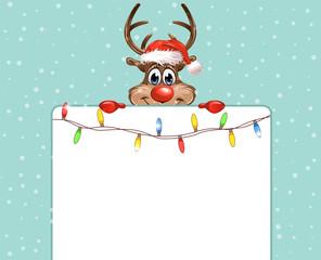 Rudolph Lichterkette Schild blauer Hintergrund