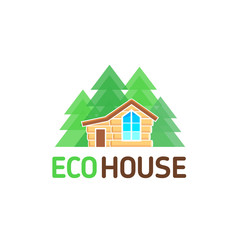 Vector logo wooden from a bar eco house with a veranda rest nature forest