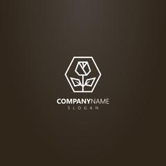 white logo on a black background. vector line art geometric logo rose in hexagon frame