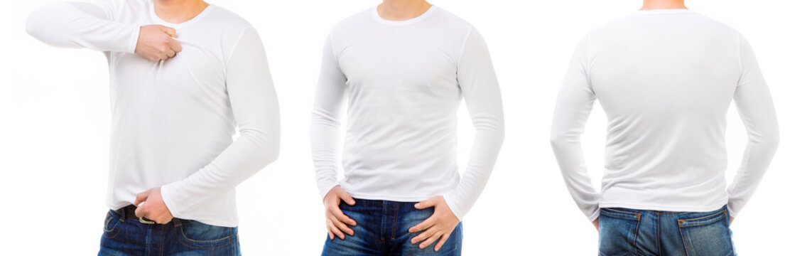 Man in a white short and longsleeved T shirts isolated on white background for your design, back and font