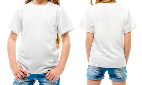 Kid's white T-shirt on the girl from the front and the back sides isolated on a white background