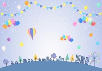 雪の街並みと風船 フェスティバル