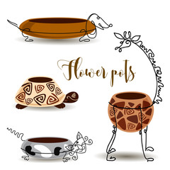 Decorative flower pots. Giraffe turtle cat and dog. Clay pots with forging. Vector.