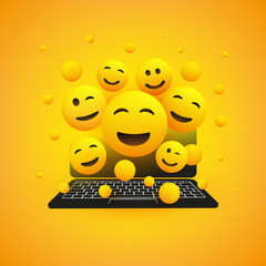 Various Smiling Happy Yellow Emoticons in Front of a Laptop Computer's Screen, Vector Concept Illustration