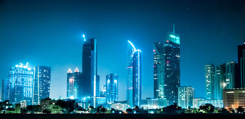 Amazing Night Dubai with skyscrapers in the night lights