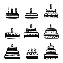 cakes silhouettes vector icons set. isolated objects