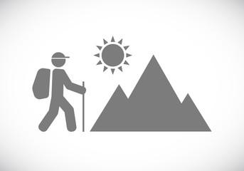 icon of tourist hiking
