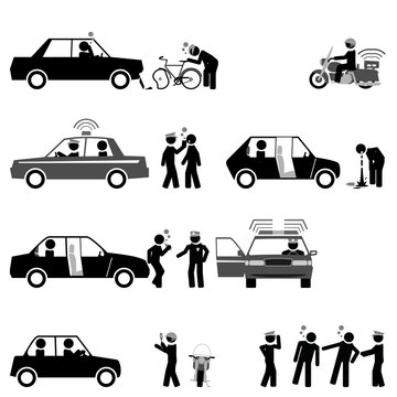 Traffic police control road safety and sobriety of drivers