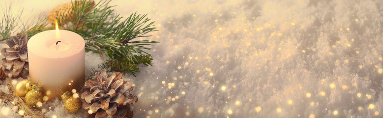 Christmas Winter Panorama  -  White candle in sparkling snow landscape Wall mural
