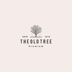 tree logo retro hipster vintage logo label