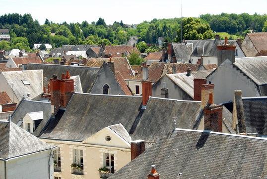 Les toits de la ville de Saint-Aignan-sur-Cher, département du Loir et Cher, France