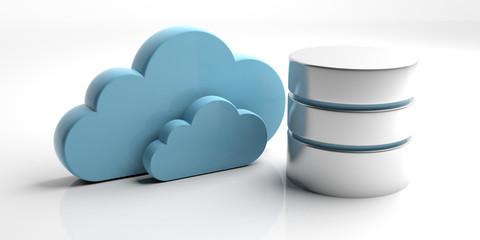 Fototapeta Database symbol and storage cloud isolated on white background. 3d illustration obraz