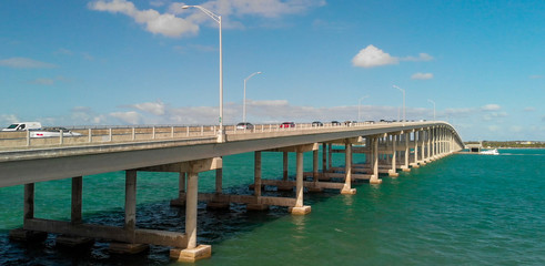 Aerial view of traffic along Rickenbacker Causeway, Miami - Florida