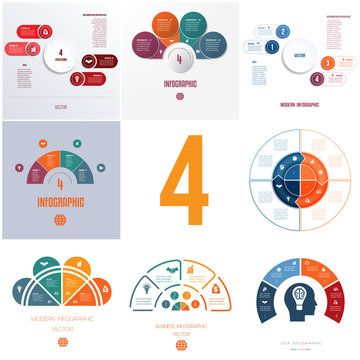 Universal templates elements Infographics conceptual cyclic processes for 4 positions possible to use for workflow, banner, diagram, web designs