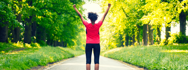 Young Woman Teenager Fitness Running Celebrating Panorama