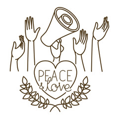 megaphone in hand with peace and love isolated icon