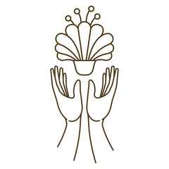 open hands with flower isolated icon