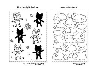 Two visual puzzles and coloring page for kids. Find the shadow for each picture of little pig - animal symbol of year 2019. Count the clouds. Black and white. Answers included.