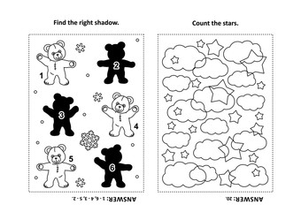 Two visual puzzles and coloring page for kids. Find the shadow for each picture of teddy bear. Count the stars. Black and white. Answers included.