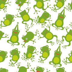 Frog seamless pattern. Cartoon cute frogs kids repeating texture. Frog wallpaper green, textile seamless pattern. Vector illustration