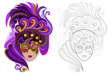 Fantasy portrait of witch in carnival mask. Colorful and black and white page for coloring book. Worksheet for children and adults. Vector cartoon image.