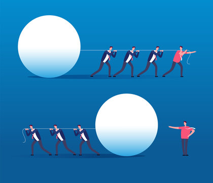 Leader vs boss. Employees management, and successful manager, leadership and teamwork vector concept. Illustration of leadership and employee, manager team work