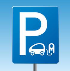 Verkehrszeichen Parkplatz Elektroauto