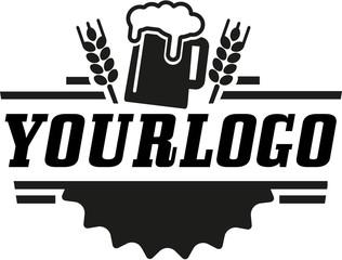 schwarzweiße Vektor-Grafik Bier für Logo