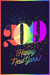 2019. Happy New Year. Greeting card with colorful rainbow text Happy New York 2019 for Christmas, Happy New Year Holiday. Poster, banner for homosexual, gay pride and LGBT concept. Vector Illustration