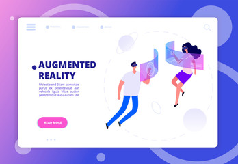 Augmented reality concept. Persons in vr headsets and goggles. Futuristic virtual reality vector banner man and woman fly in cyberspace illustration
