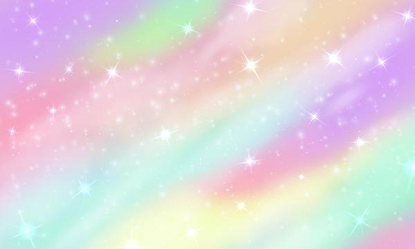 Rainbow unicorn background. Mermaid glittering galaxy in pastel colors with stars bokeh. Magic pink holographic vector backdrop. Illustration of magic pattern, rainbow universe, cosmic unicorn