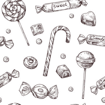 Seamless candy background. Sketch chocolate candy, lollipop and marmalade sweets, hand drawn vector wrapper texrure. Illustration of candy and chocolate candy
