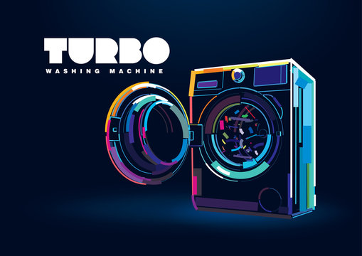 Modern Automatic washing machine. Banner in a digital painting