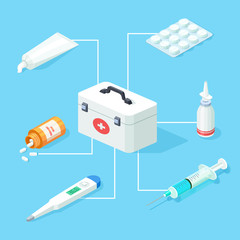 First aid kit tools vector isometric concept. Isometric first aid kit 3d for health care illustration