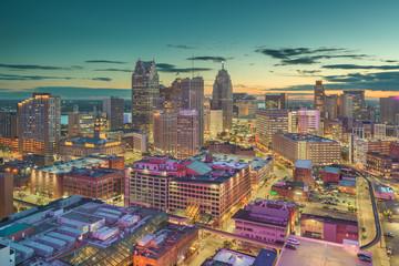 Detroit, Michigan, USA Downtown Skyline at Dusk