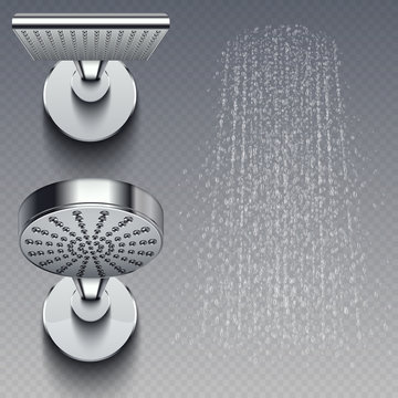 Realistic shower metal heads and trickles of water vector illustration isolated on transparent background. Shower for bathroom, head chrome realistic