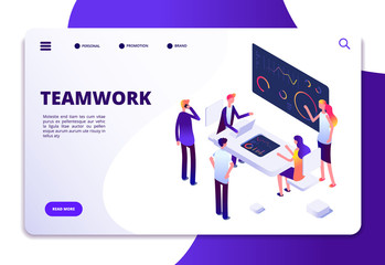 Teamwork isometric landing page. Cartoon business people working at office desk with computers. Business workspace vector concept. Illustration of teamwork page and 3d team characters