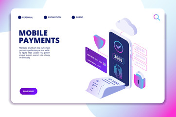 Mobile payments isometric concept. Online secure payment smartphone app. Banking internet shopping technology vector landing page. Illustration of online mobile payment with smartphone