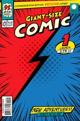 Comic book cover. Background versus red and blue.