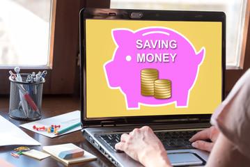 Money saving concept on a laptop screen