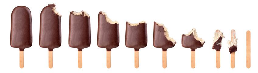 a set of vanilla bitten ice cream with chocolate