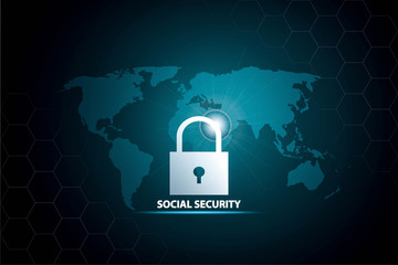 social security Global communication network  concept.
