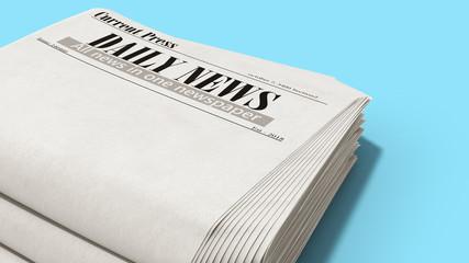 newspaper in stack 3d render on blue