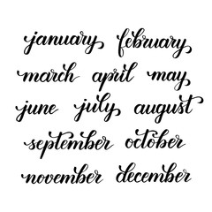 months of the year brush calligraphy