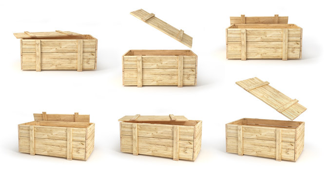 wooden boxes in different view isolated on a white. 3d illustration
