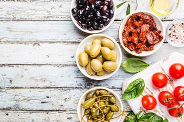 Mediterranean snack assortment.